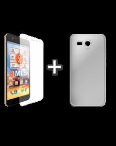 Θήκη σιλικόνης Μαύρη Διαφανής + Αντιχαρακτικό γυαλί MLS Slice 4G