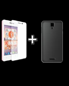 Θήκη σιλικόνης Μαύρη Διαφανής + Αντιχαρακτικό γυαλί MLS Top-S 4G