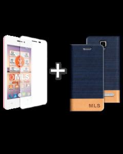 Flip Case Μπλε+ Αντιχαρακτικό γυαλί MLS Top-S 4G