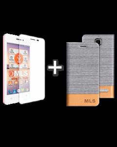 Flip Case Ασημί + Αντιχαρακτικό γυαλί MLS Top-S 4G