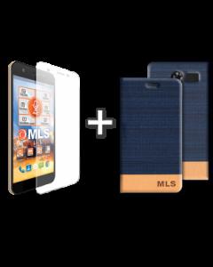 Flip Case Μπλε + Αντιχαρακτικό Γυαλί MLS Slice 4G