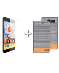 Flip Case Ασημί + Αντιχαρακτικό γυαλί MLS Slice 4G