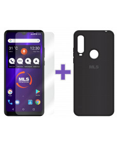 Μαύρη θήκη Soft touch MLS MX Energy + Αντιχαρακτικό γυαλί