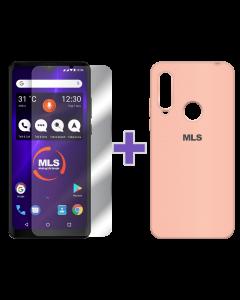 Ροζ θήκη Soft touch MLS MX Energy + Αντιχαρακτικό γυαλί